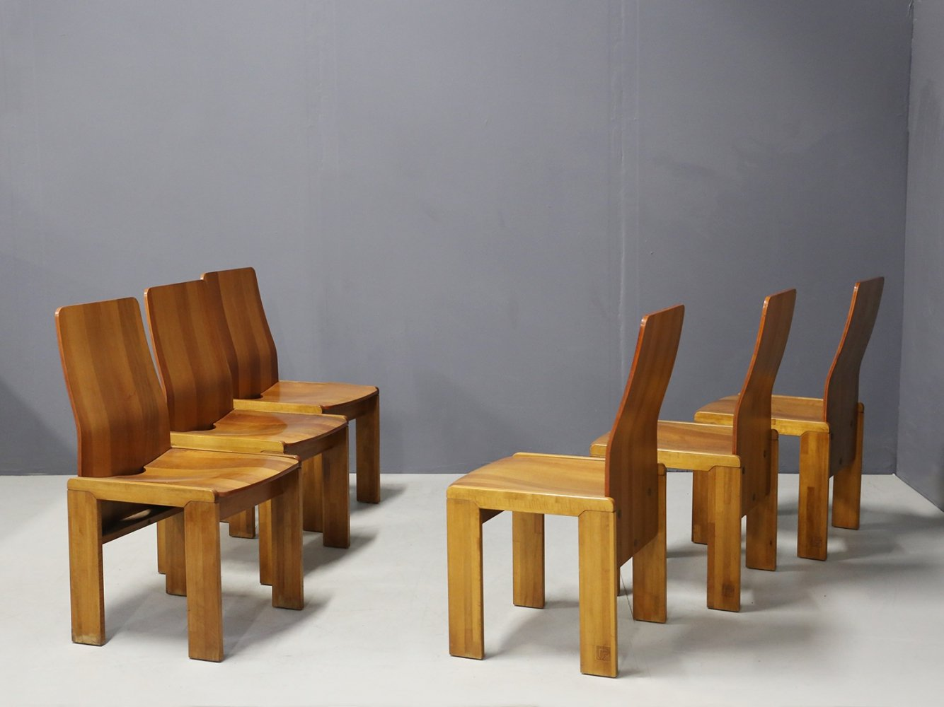 Set of 6 MidCentury Chairs in wood by Afra & Tobia Scarpa, 1980s