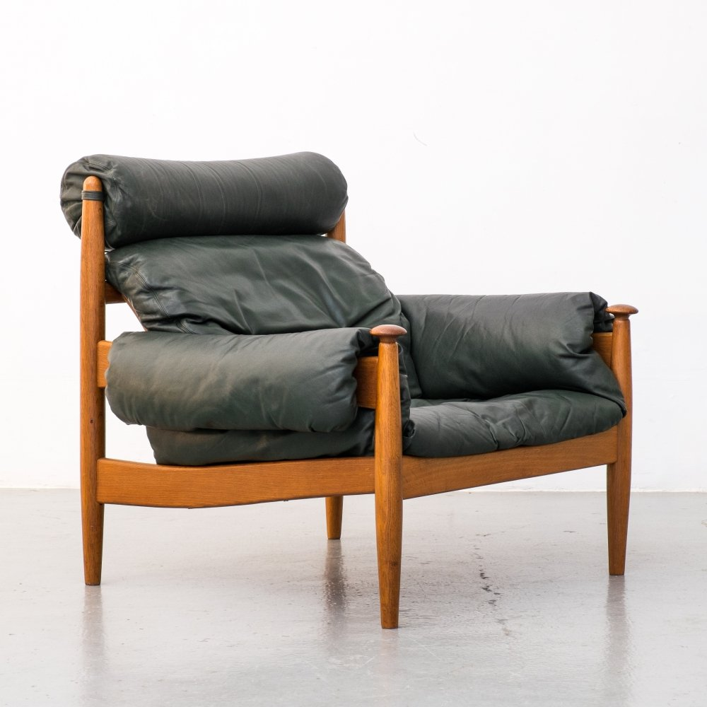 Green Leather lounge chair by Profilia Werke, 1970s