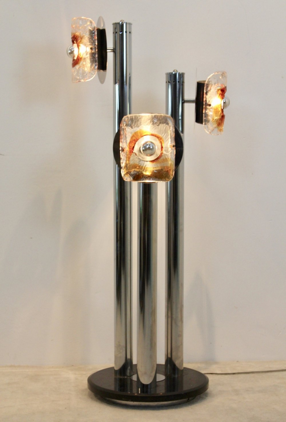 Chrome, Marble & Murano Glass Floor Lamp by Toni Zuccheri for VeArt, Italy