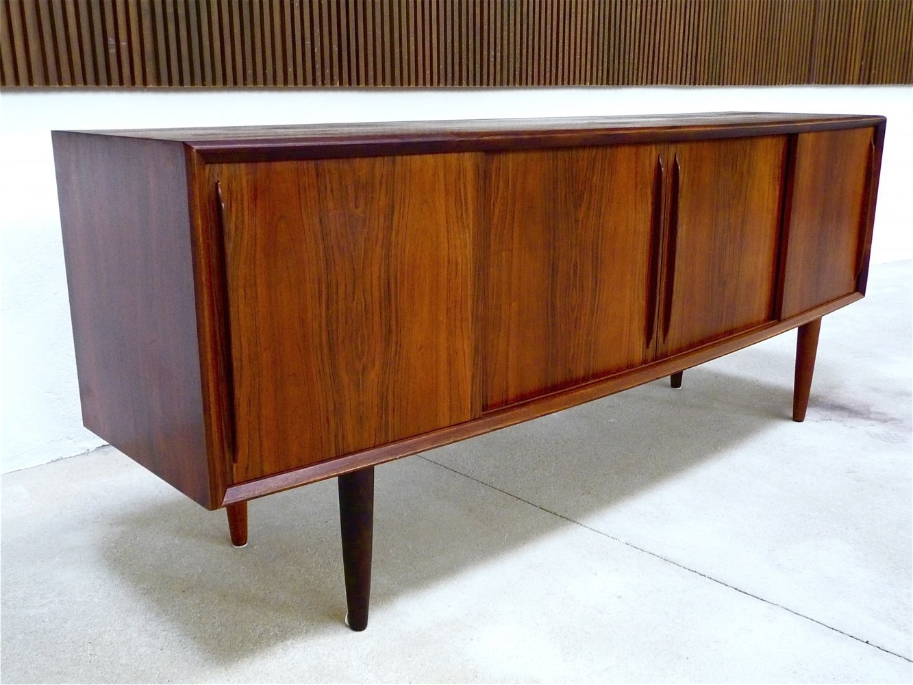 Danish Curved Front Sideboard by Svend Aage Madsen for HP Hansen, 1960s