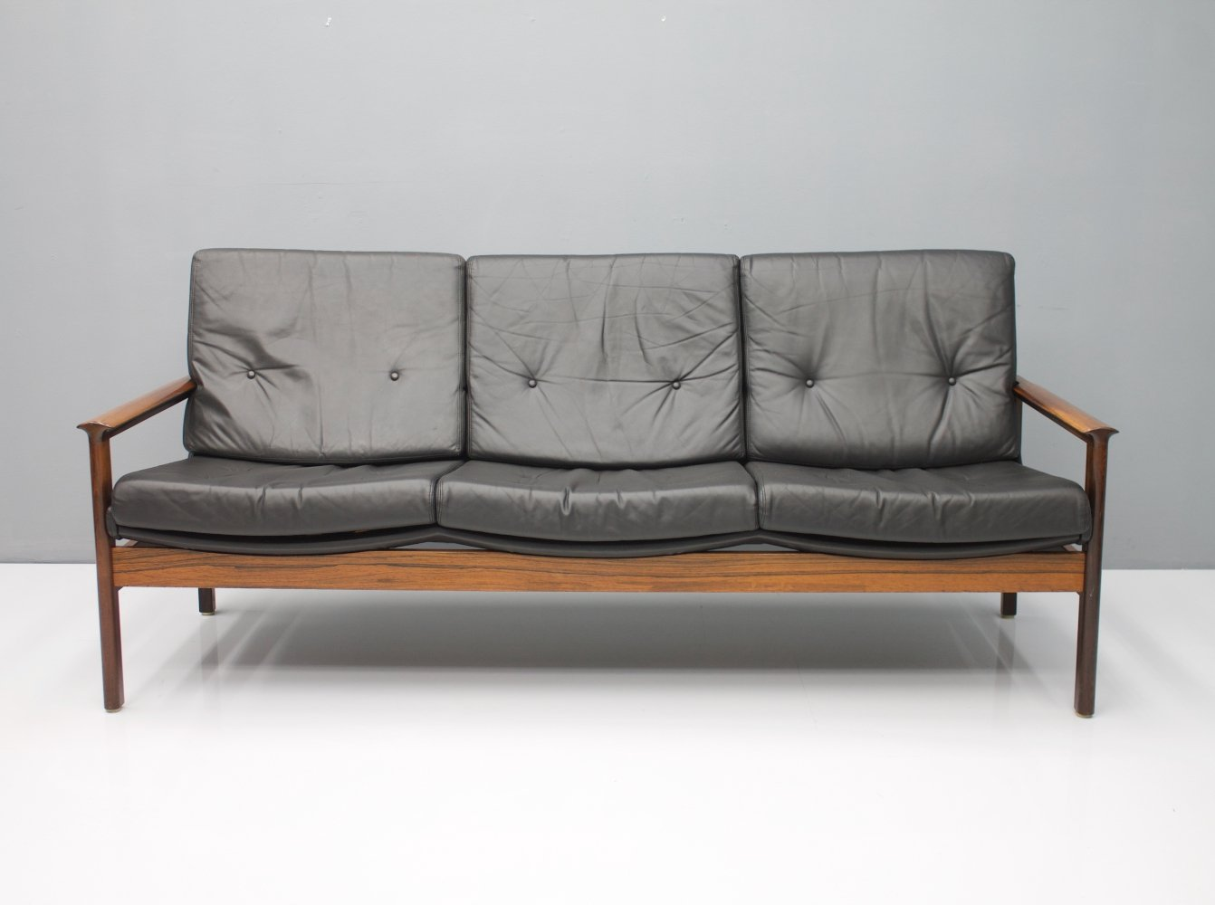 Scandinavian 3-seat Rosewood Sofa with Black Leather, 1960s