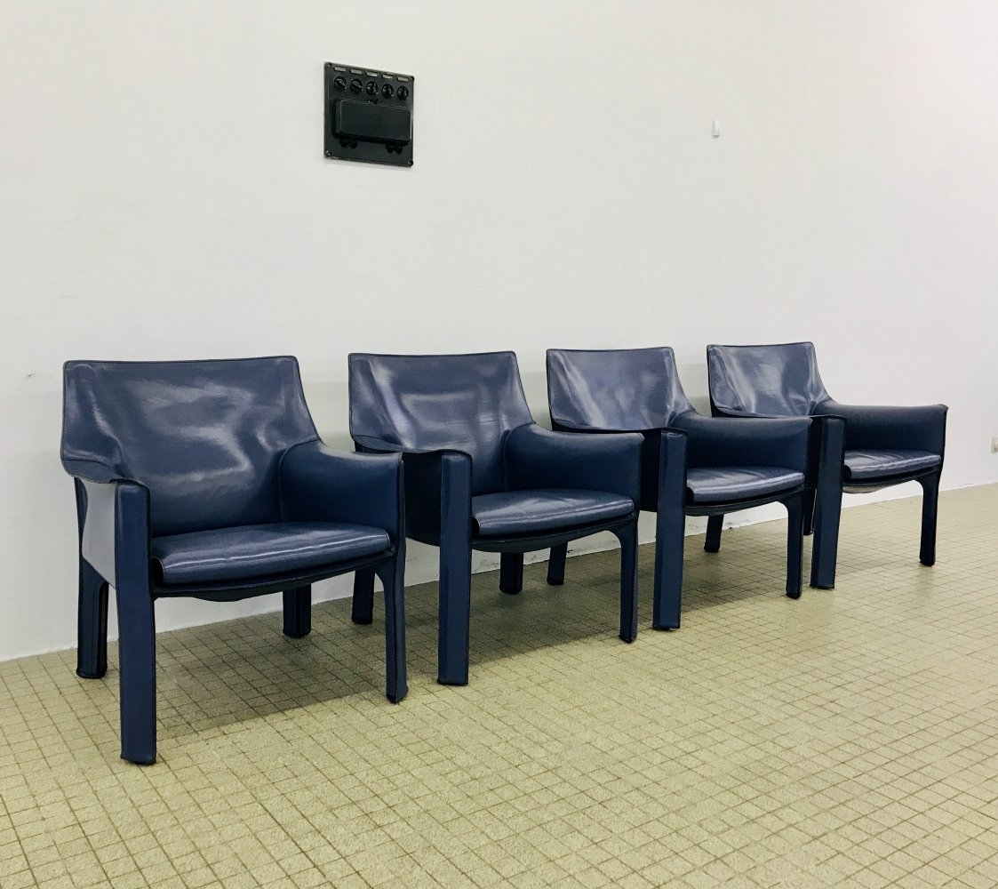 Vintage Cassina CAB 414 lounge chairs in blue leather by Mario Bellini