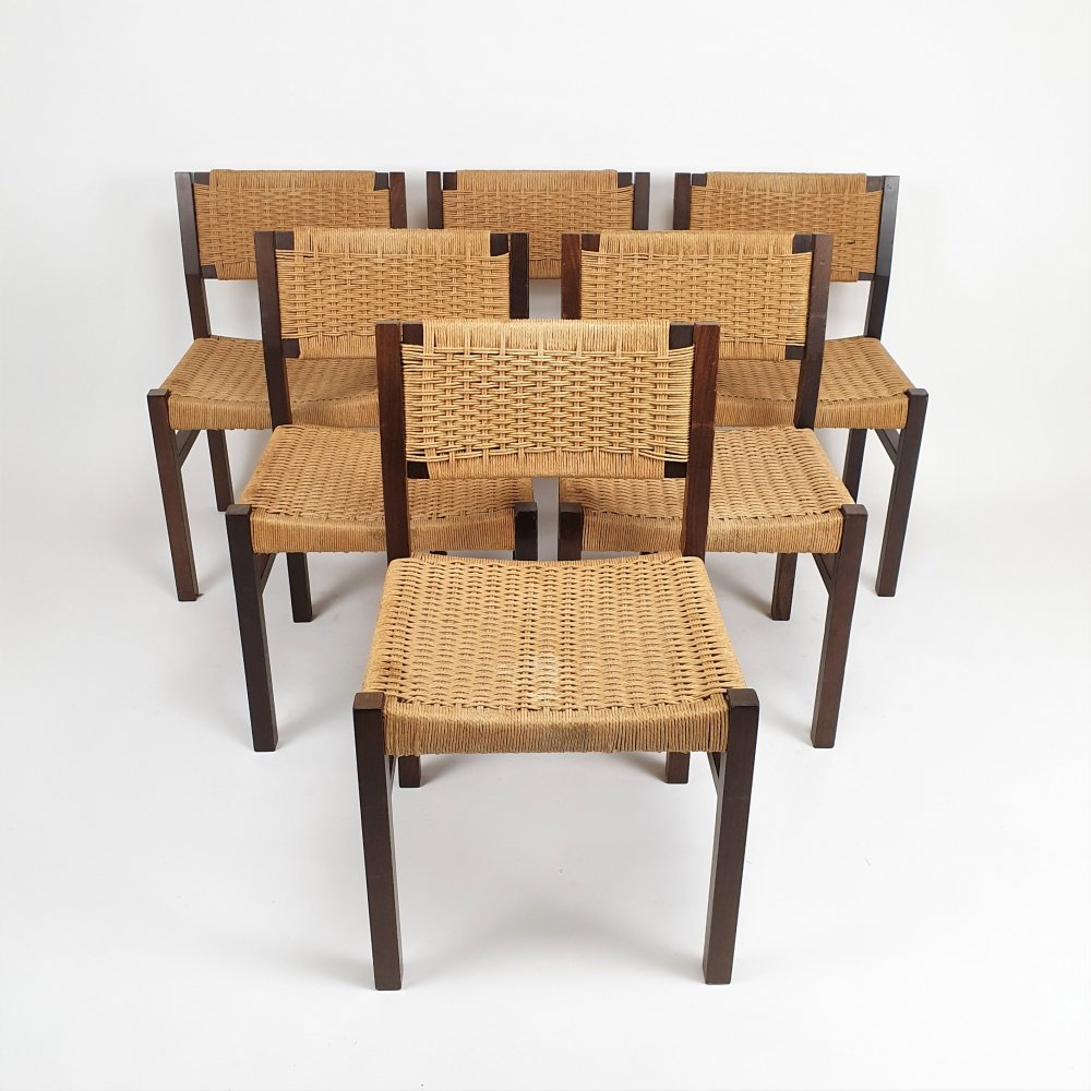 Set of 6 Modernist Wengé & Papercord Dining chairs by Arnold Merckx for Fristho, 1973
