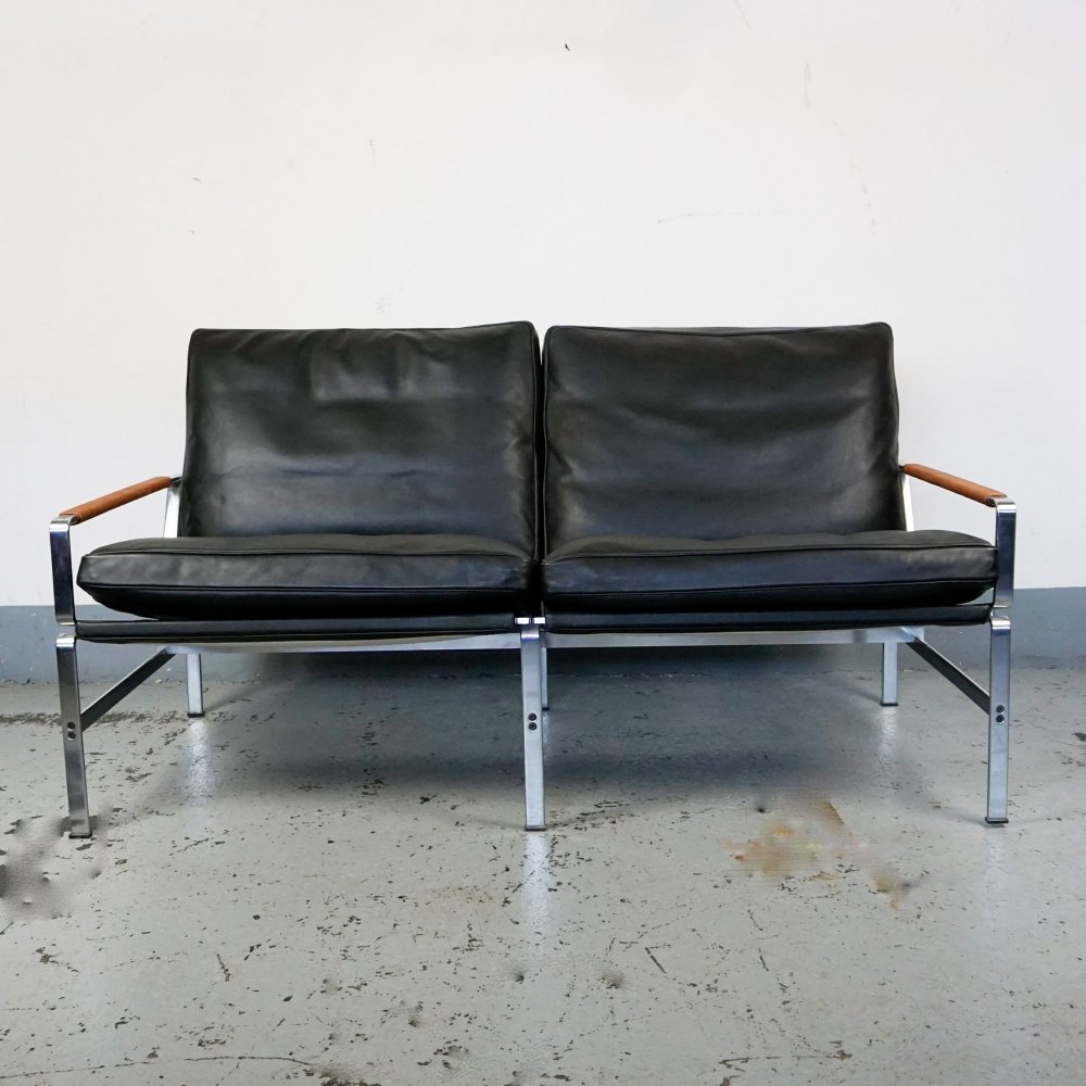 Black Leather FK6720 Two-Seat Sofa by Fabricius & Kastholm, 1990s