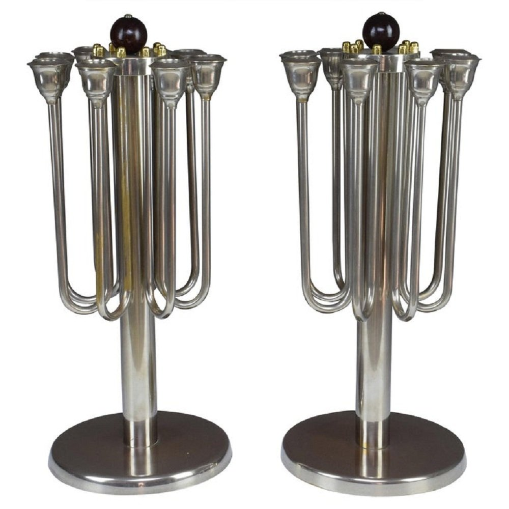 Pair of French Art Deco Candleholders, 1930s