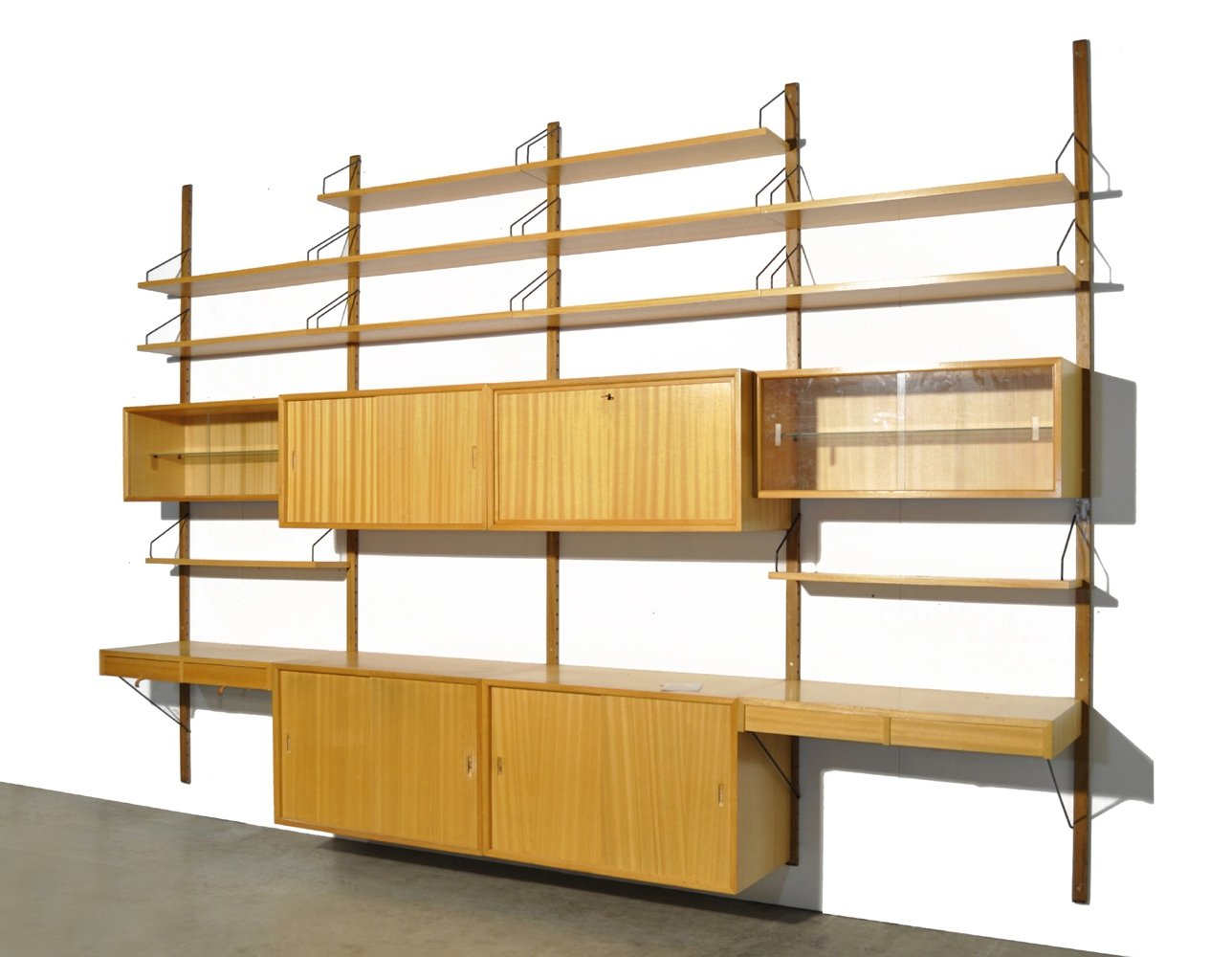 Large modular Royal System oak wall-unit by Poul Cadovius for Cado, 1960s