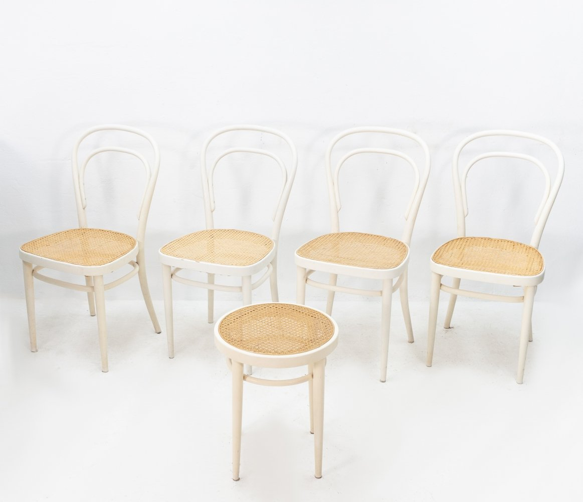 Set of 4 Thonet model 214 dining chairs plus stool, 1960s