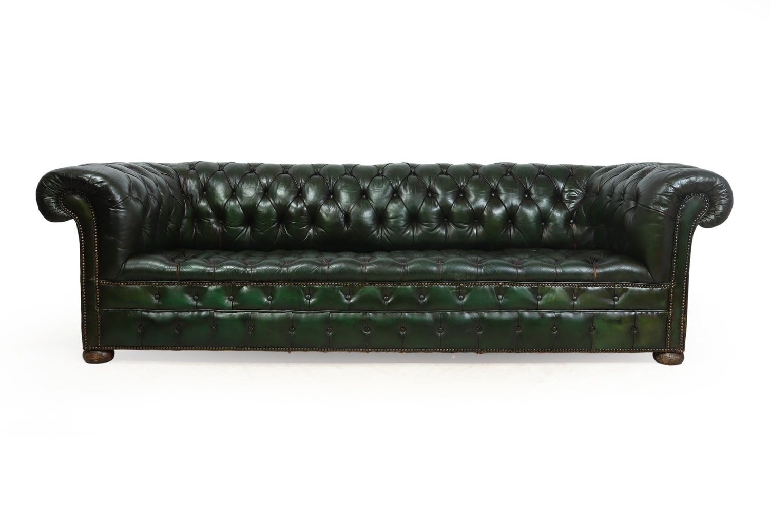 Vintage Green Leather Chesterfield Sofa 119295