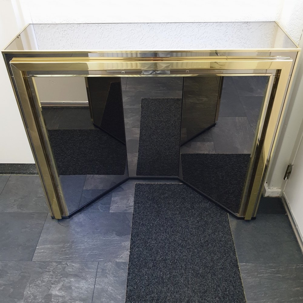 Gold-plated & smoked mirror glass console table by Belgo Chrom, 1980s