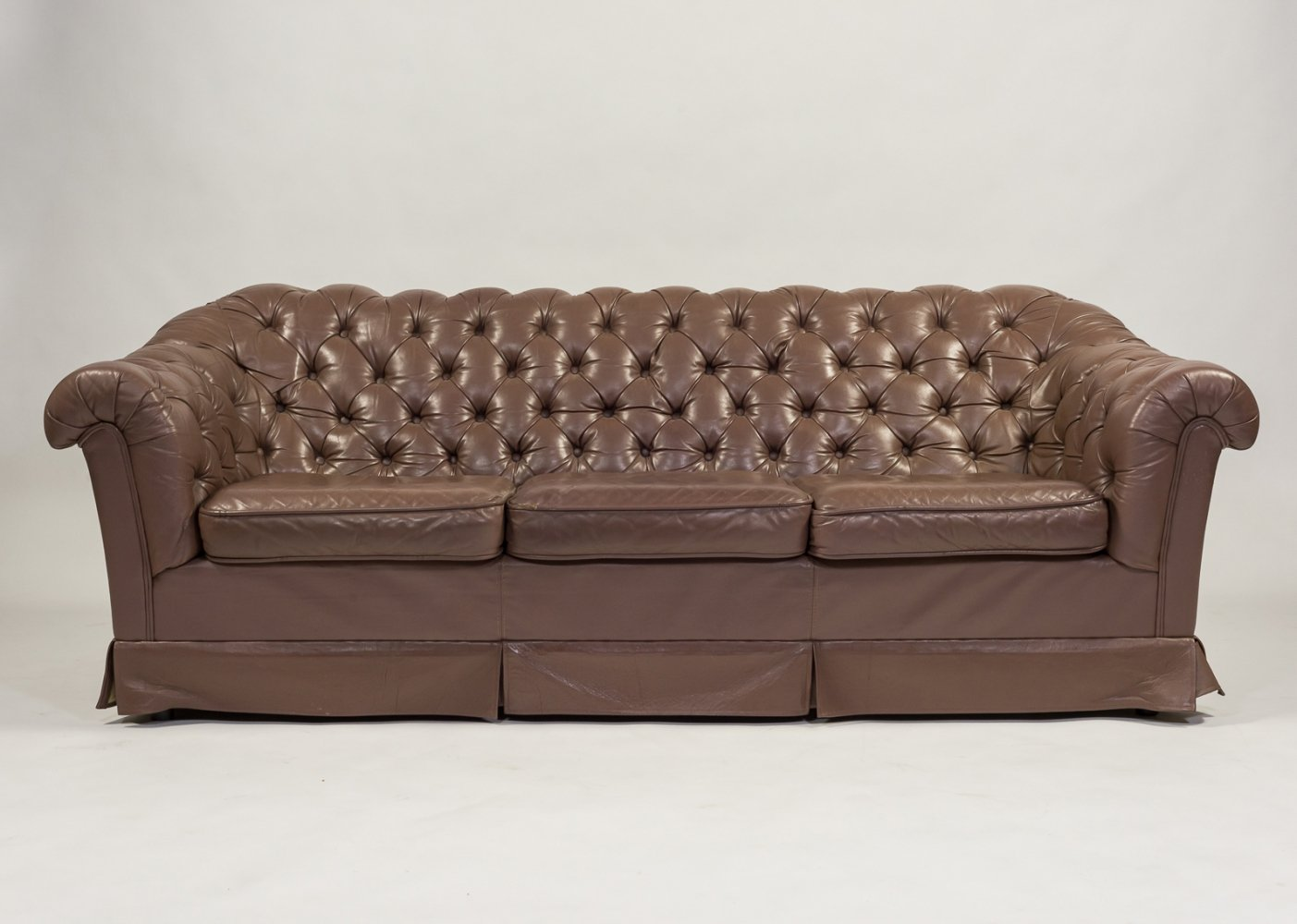 Chesterfield style three seater leather sofa