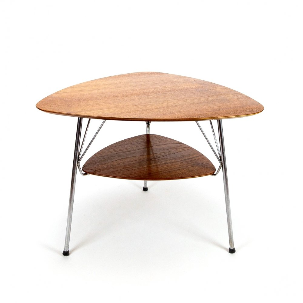 Vermund Larsen Model VL1312 Triangular Teak & Metal Side Table, Denmark 1959