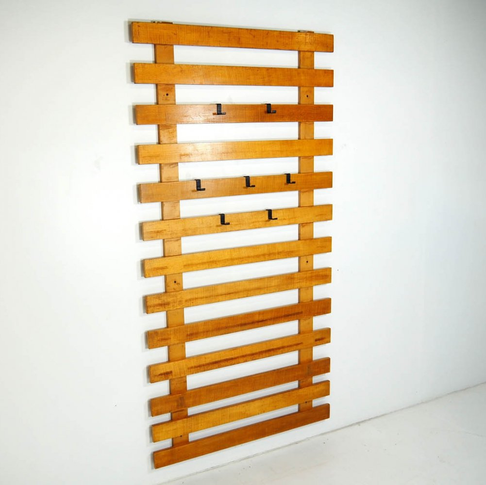 Minimalistic coat rack with 7 movable brackets, 1970s