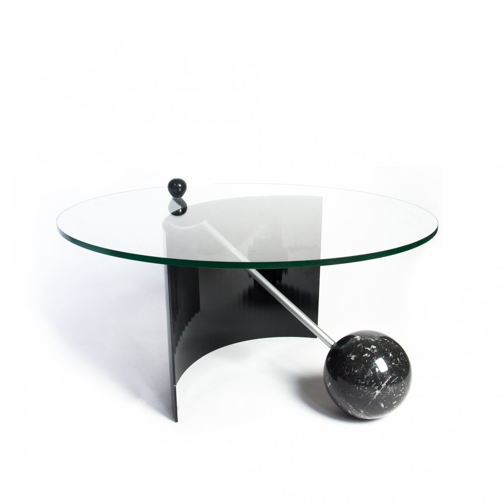 Geometric Black Marble Coffee Table, Italy 1970