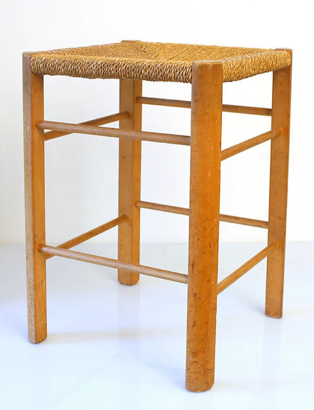 50s vintage wooden rope stool