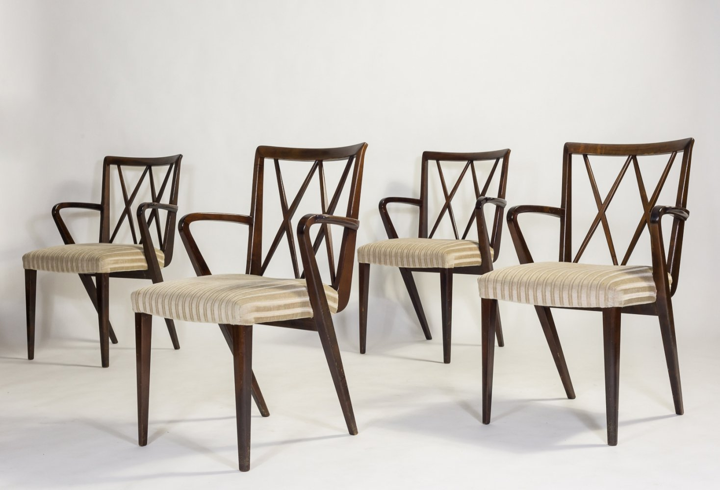 Set of 4 walnut chairs by A.A. Patijn for Zijlstra