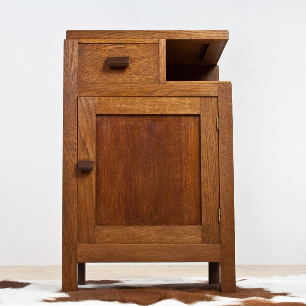 Solid Oak Art Deco Hall Cabinet by Hendrik Wouda for Pander Den Haag