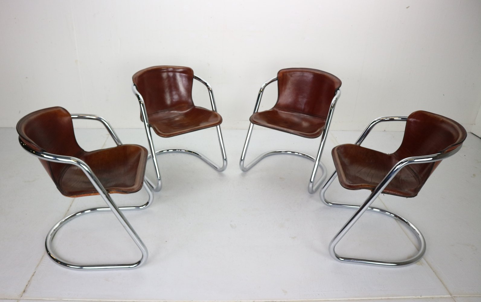 Set of 4 Willy Rizzo Leather Dining Chairs for Cidue, Italy 1970s