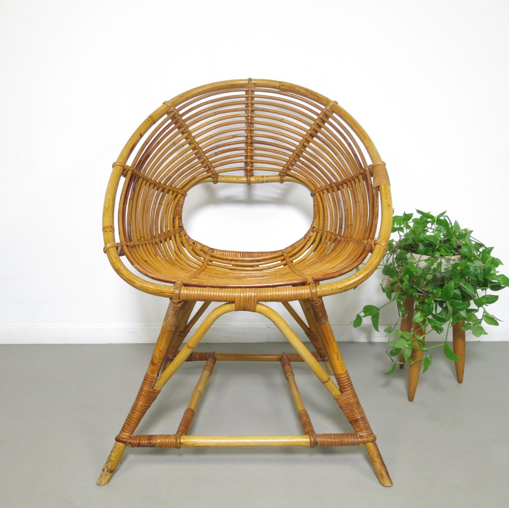 Rare rattan chair by Rohé Noordwolde