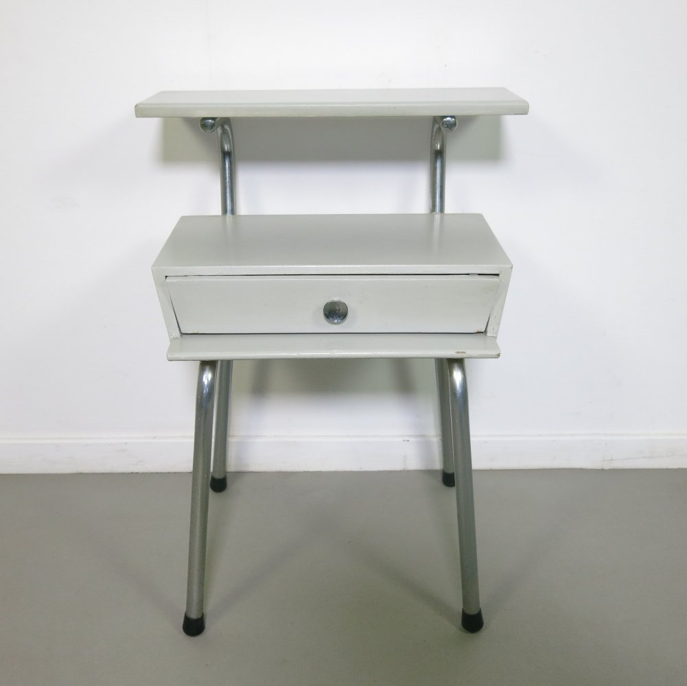 Grey wooden nightstand by Wim Rietveld for Auping, 1960s