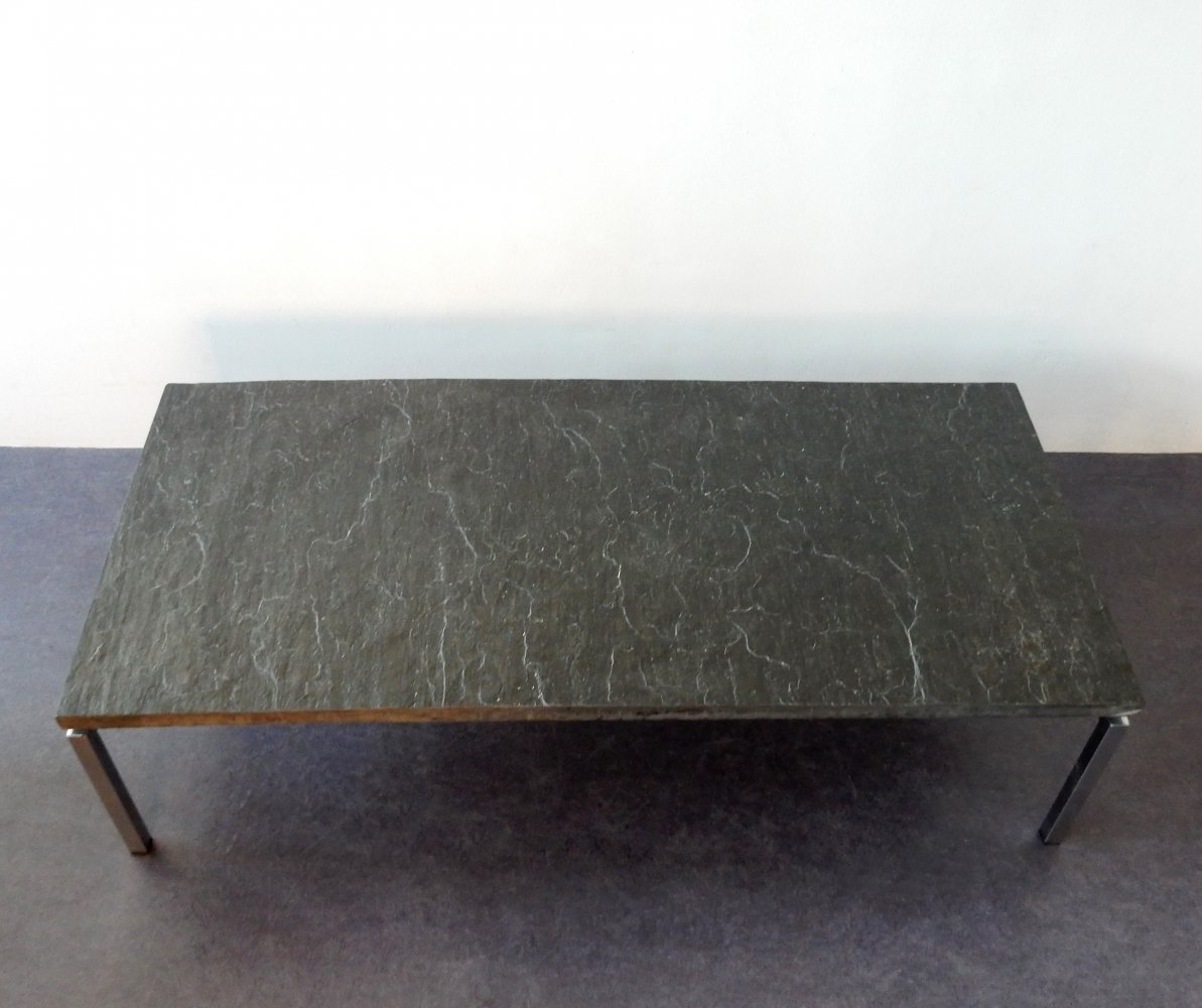 Mid century rectangle coffee table with heavy slate top, 1960