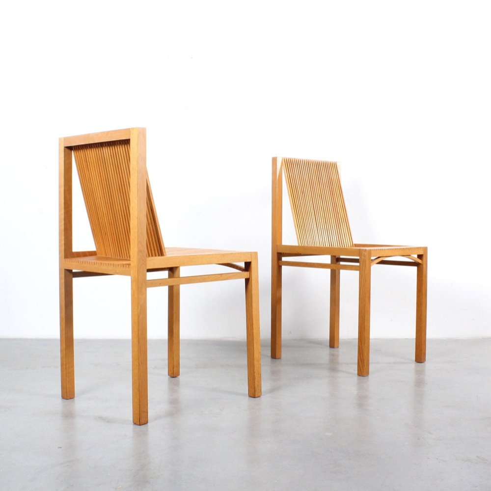 Pair of Slat dining chairs by Ruud Jan Kokke, 1980s