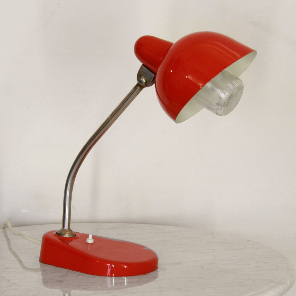 1950s vintage red table lamp
