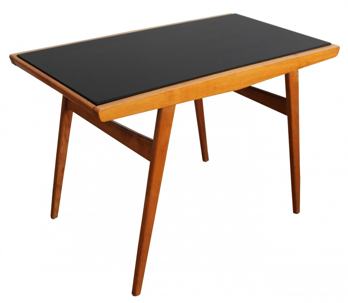 Mid Century Ash Coffee Table with Black Opaxite Glass Tabletop