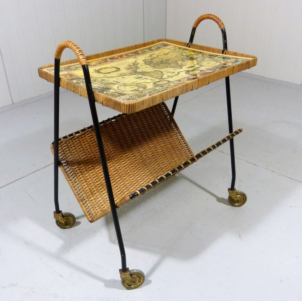 Side table with magazine rack on wheels, 1950