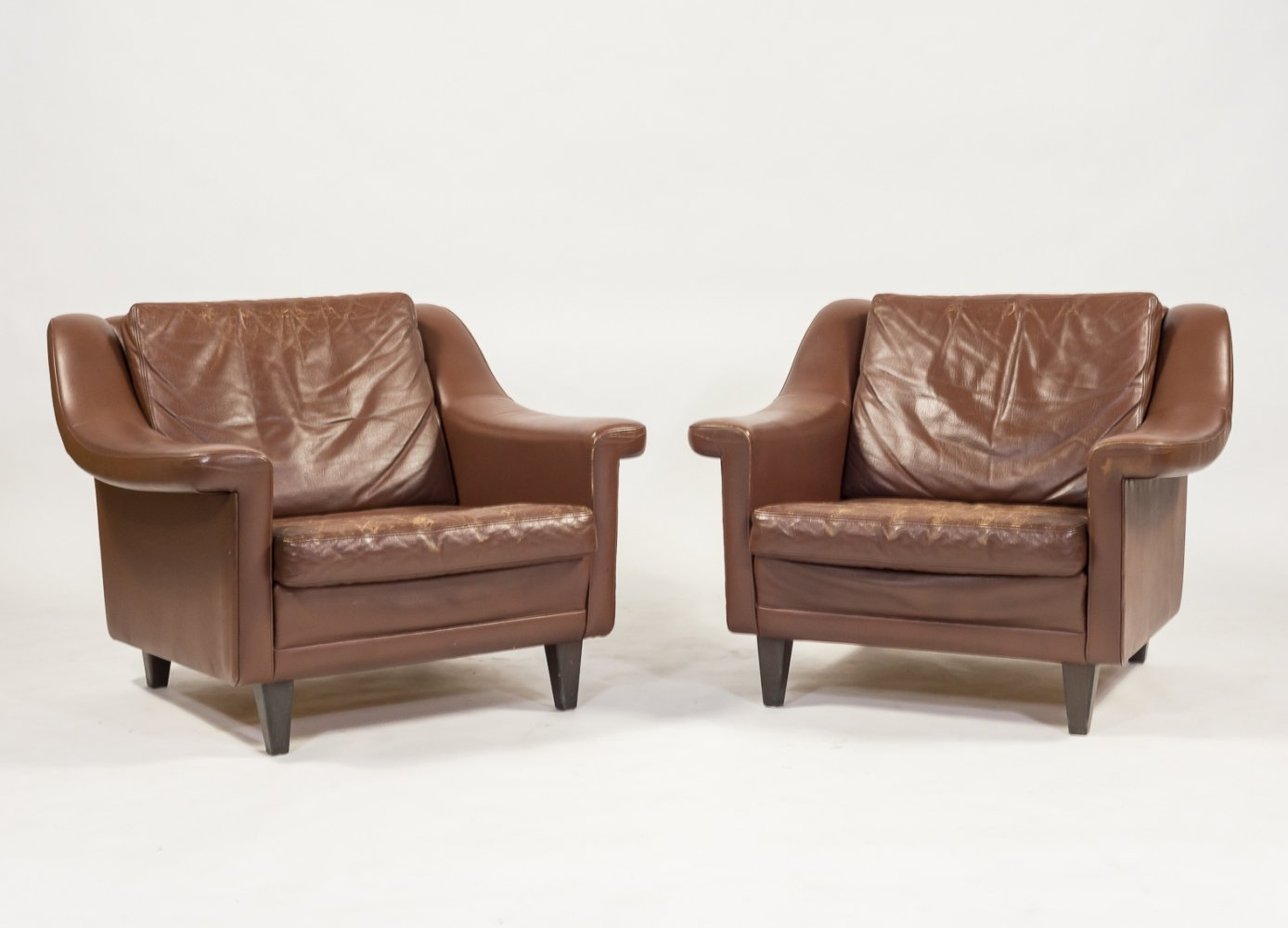 Set of two Danish Architectural mid-century armchairs