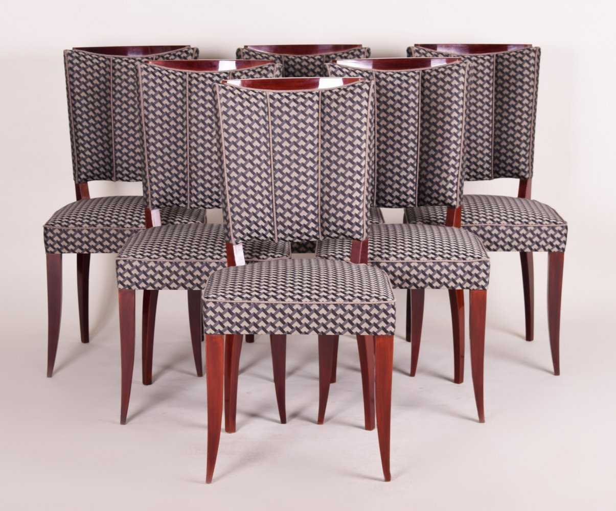Set of 6 French Art Deco Chairs by Jules Leleu, 1920s
