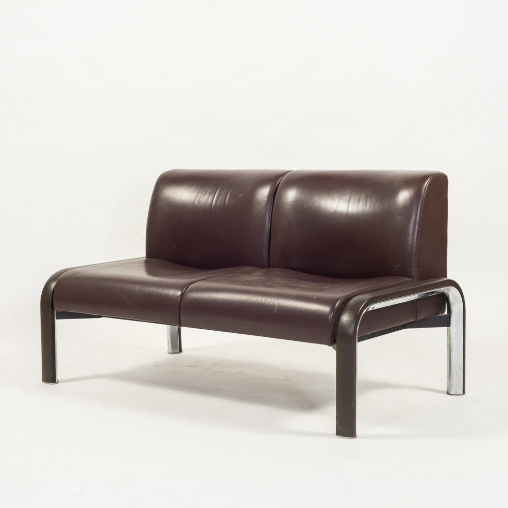 Vintage Italian design sofa in brown leather