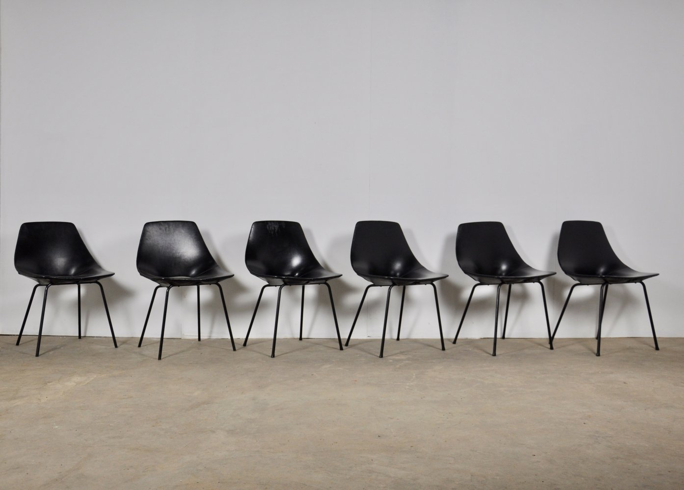 Set of 6 Tonneau Chairs by Pierre Guariche for Steiner, 1950s