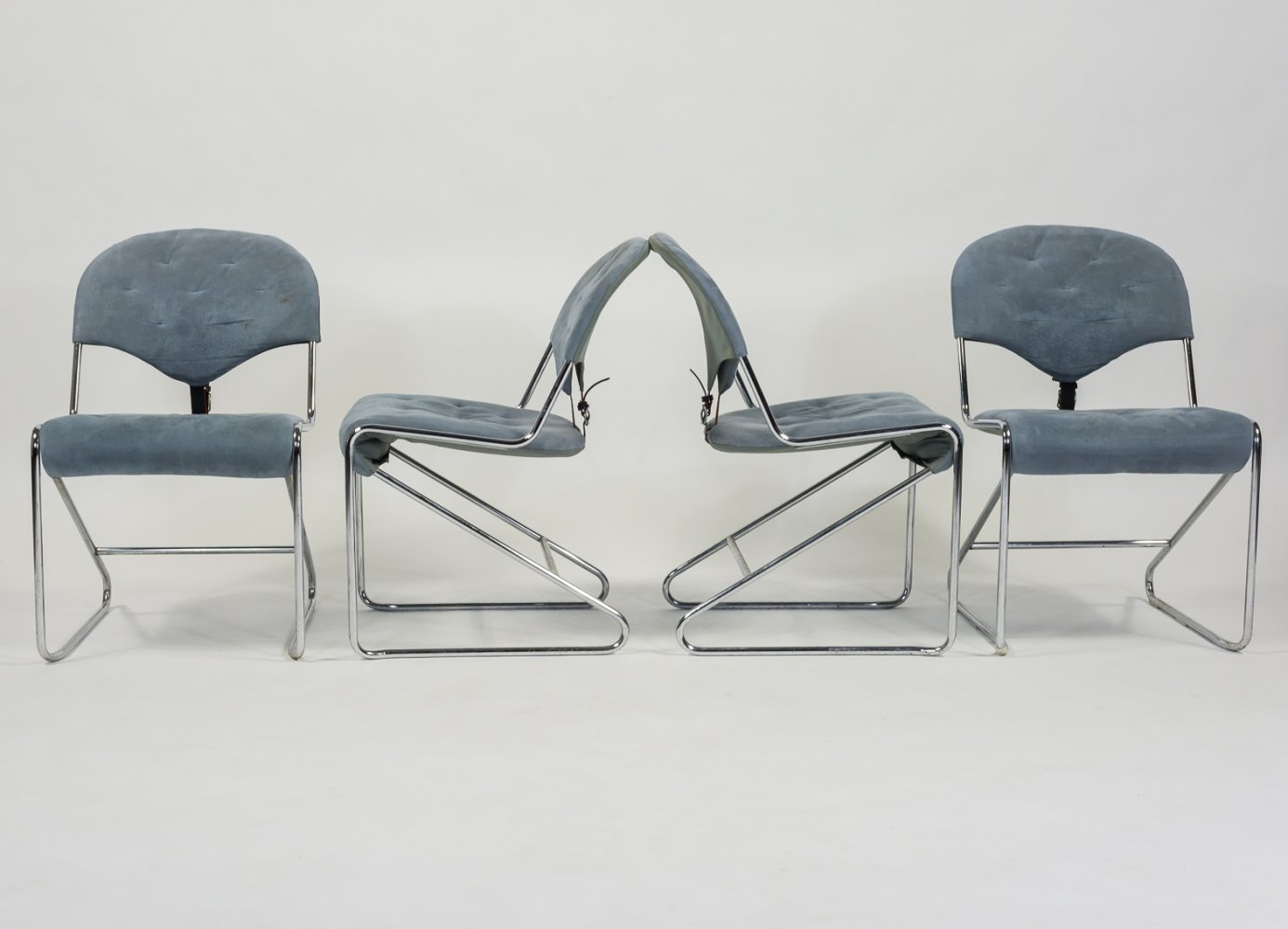 Set of 4 Sam Larsson chairs for DUX Sweden, 1970s