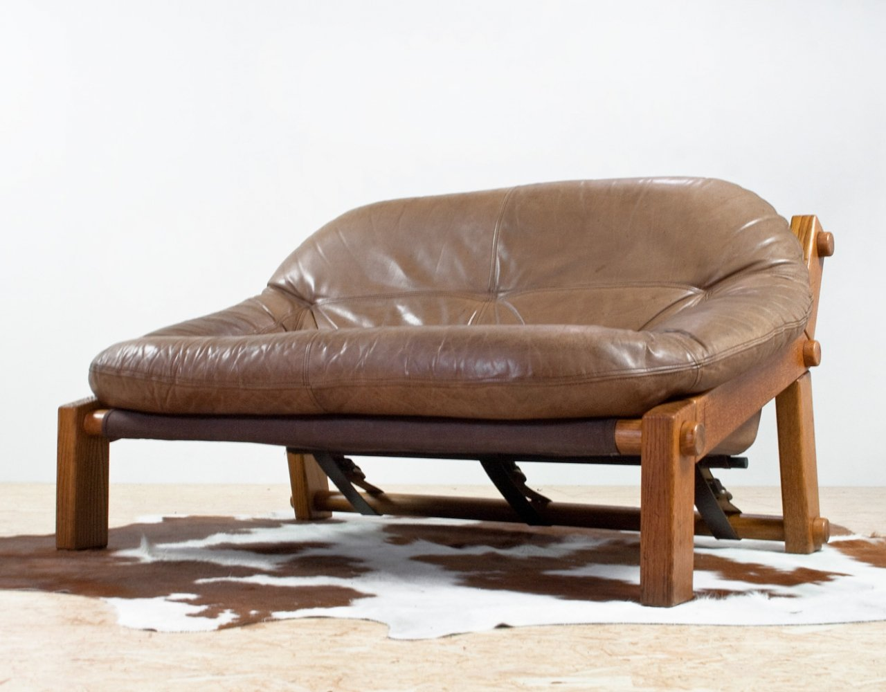 Brutalist sofa in pine & leather by Gerard van den Berg for Montis, 1970s