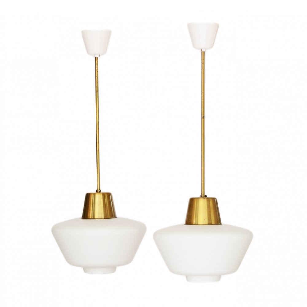 Pair of brass ASEA ceiling lights with hand blown opaline glass shades, Sweden 1960s