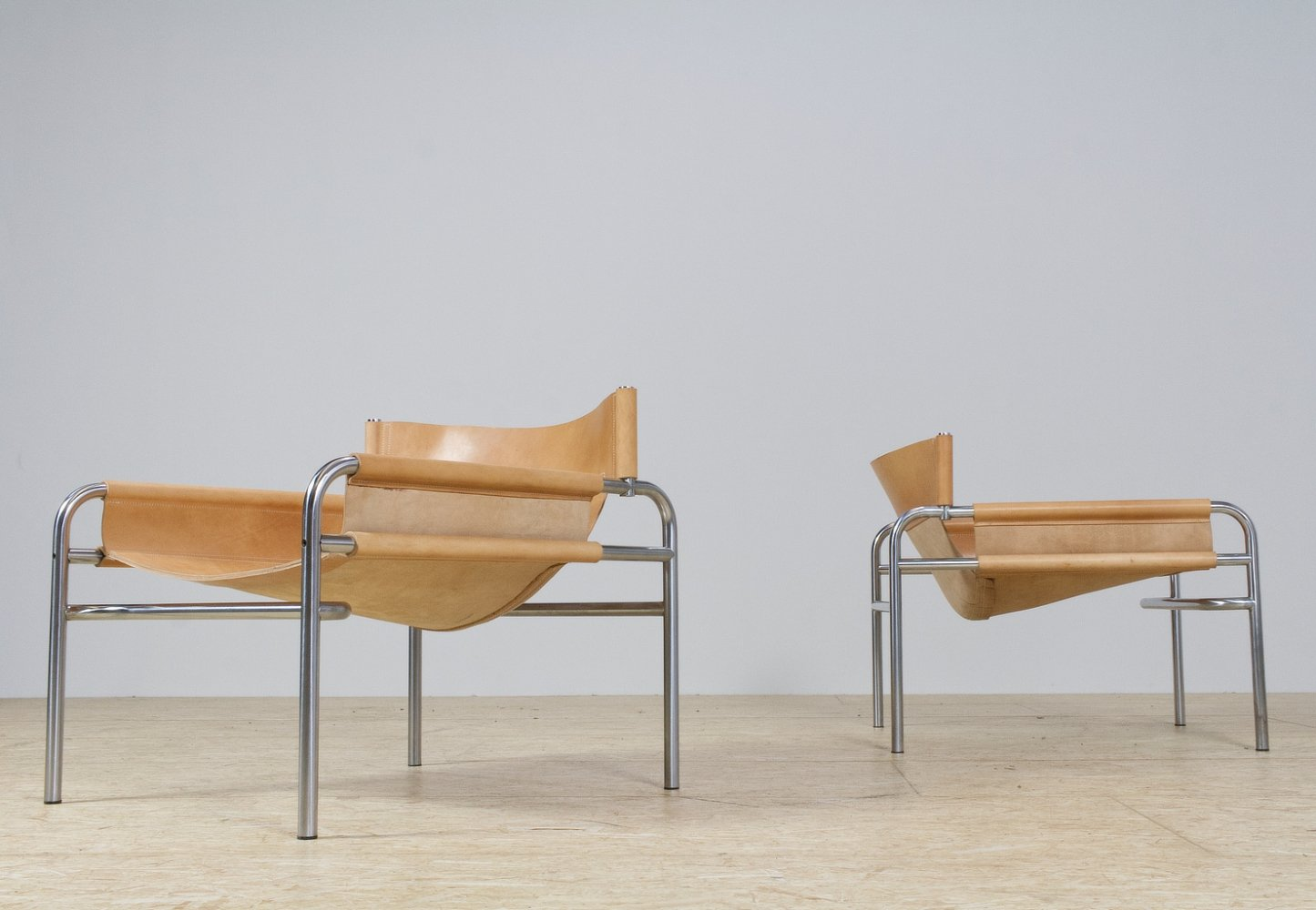SZ14 armchairs in brown leather by Walter Antonis for Spectrum, 1960s