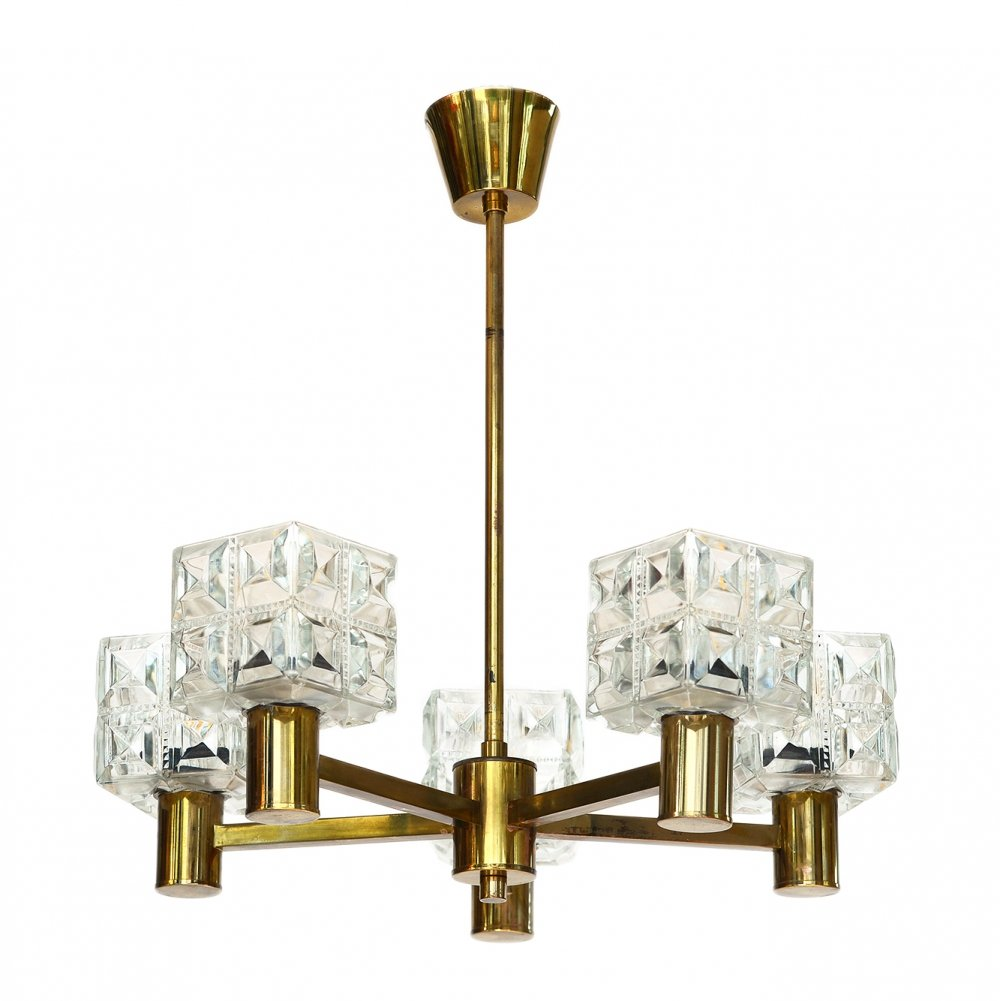 Brass chandelier from Tyringe Konsthantverk, Sweden 1950s