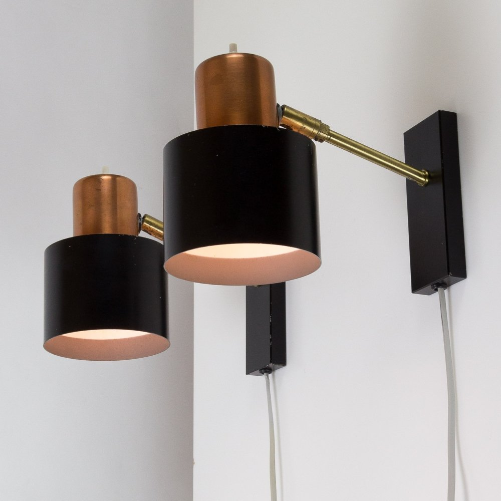Pair of Alfa Wall Lights by Jo Hammerborg for Fog & Mørup, Denmark 1960s