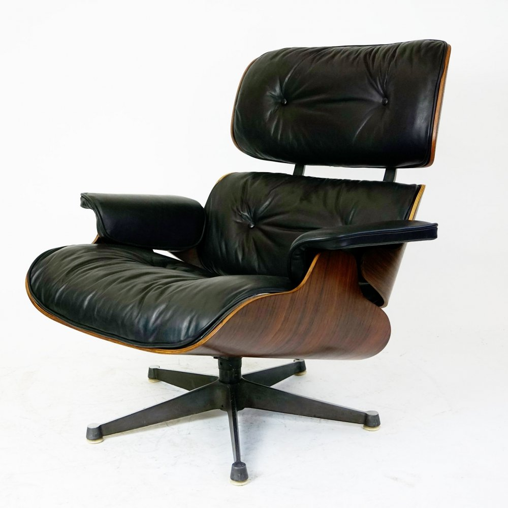 Rosewood & black Leather Eames Lounge Chair by ICF Italy for Herman Miller