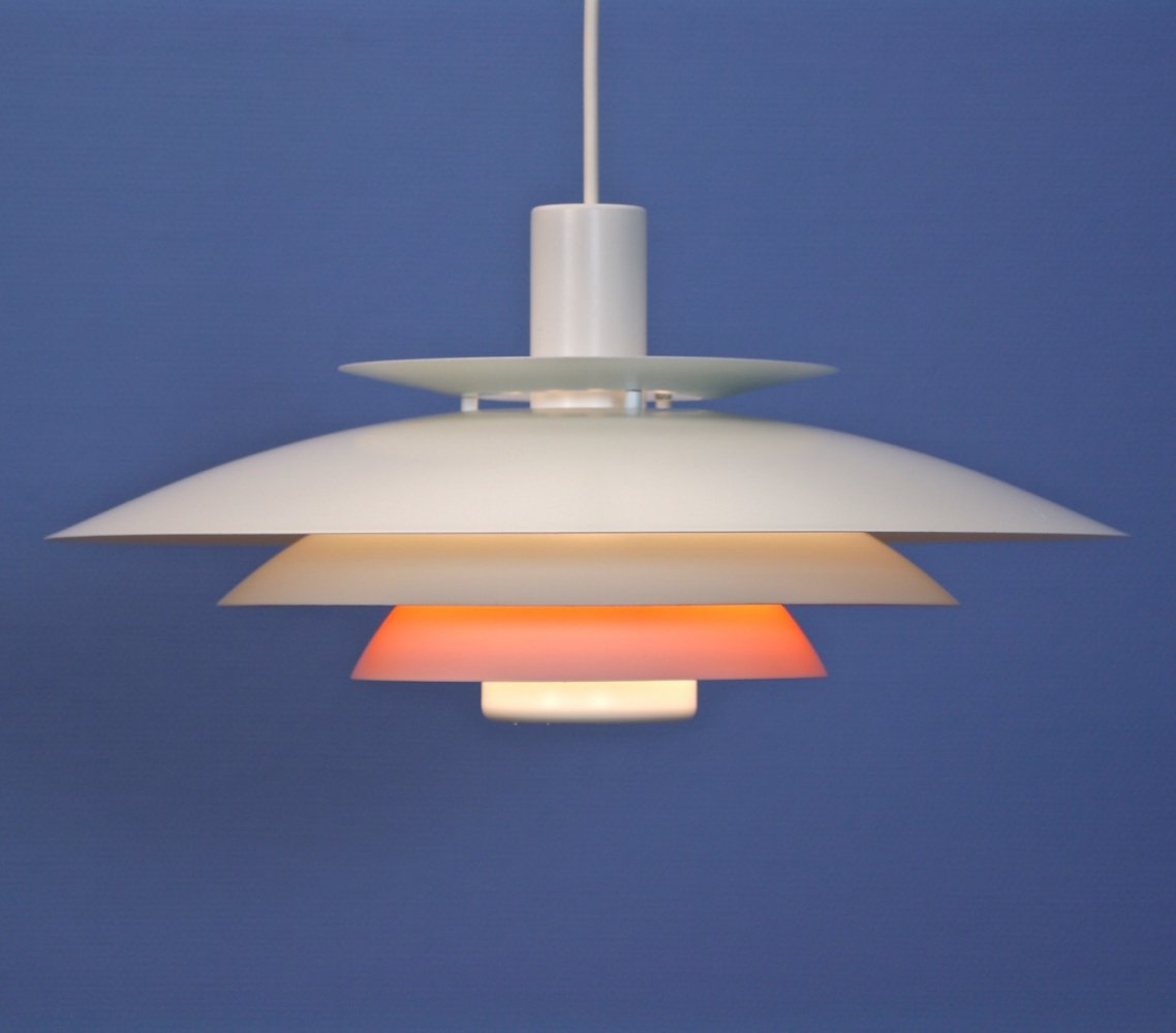 Danish Form Light hanging lamp in white with orange accent, 1960s