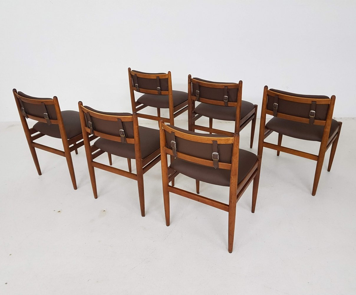 Set of 6 Vintage dining chairs with brown leather upholstery, 1960s