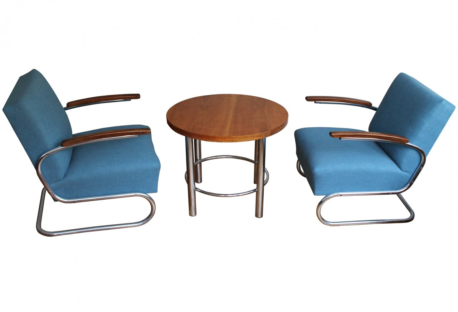 Modernist Lounge Chairs with Coffee Table set by Walter Schneider & Paul Hahn
