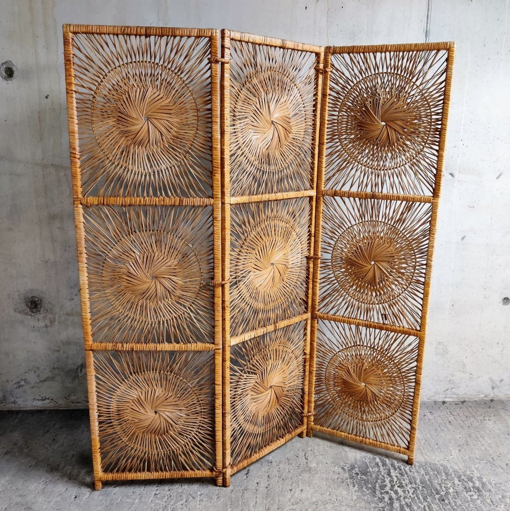 Rattan room divider or folding screen by Rohé Noordwolde, 1960s