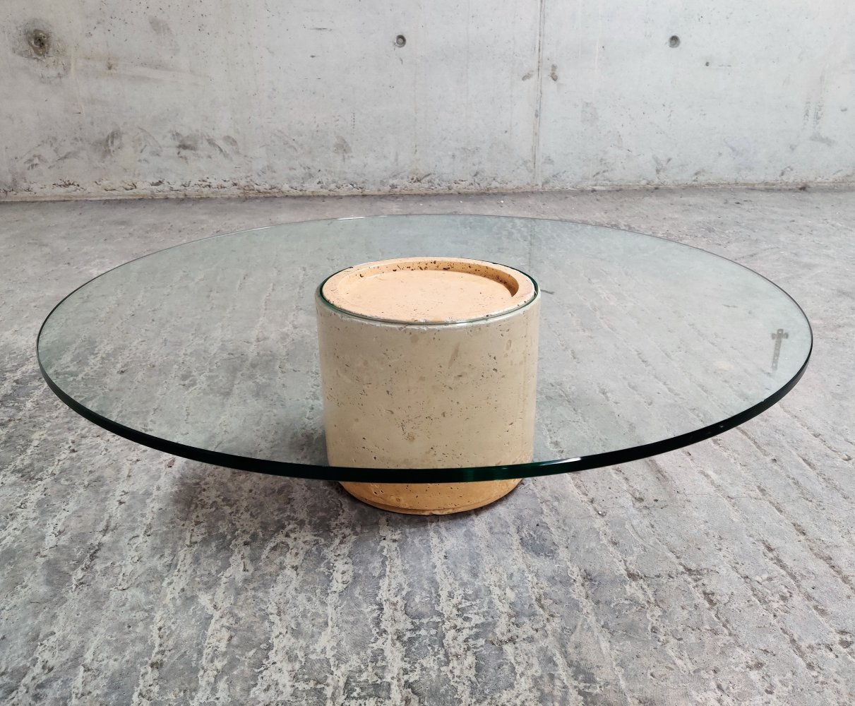 Vintage round travertine & glass coffee table, 1970s