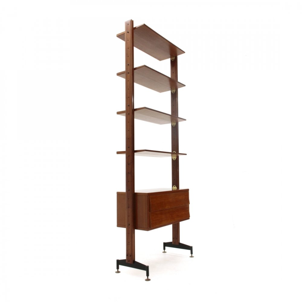 Midcentury italian wall unit with drawers & shelves, 1950s