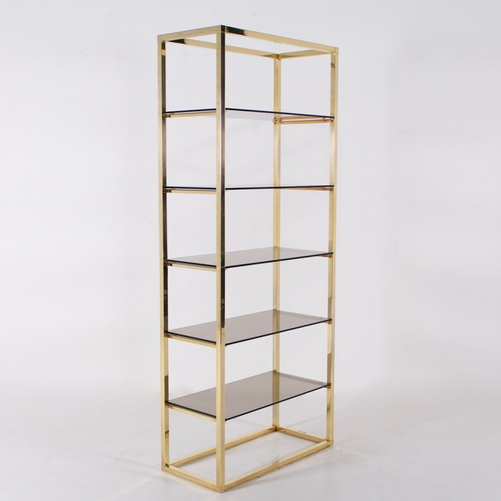 Hollywood Regency brass & smoked glass shelf