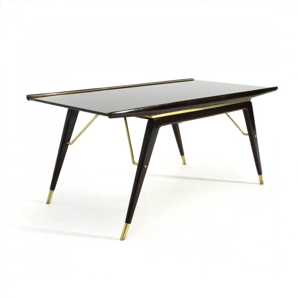 Midcentury modern Ebonized wood, brass & black glass coffee table, 1940s