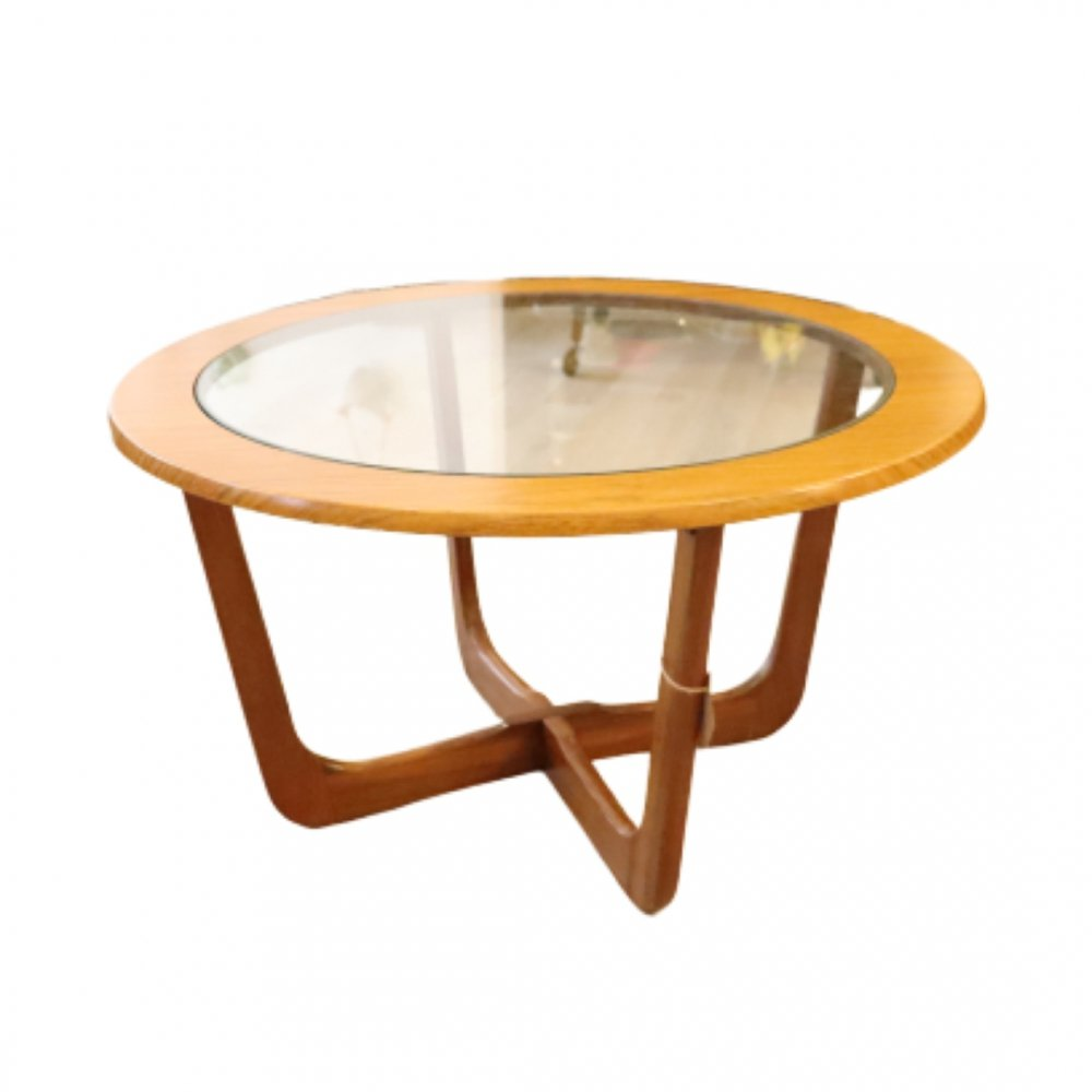 Round coffee table with glass, 1960s