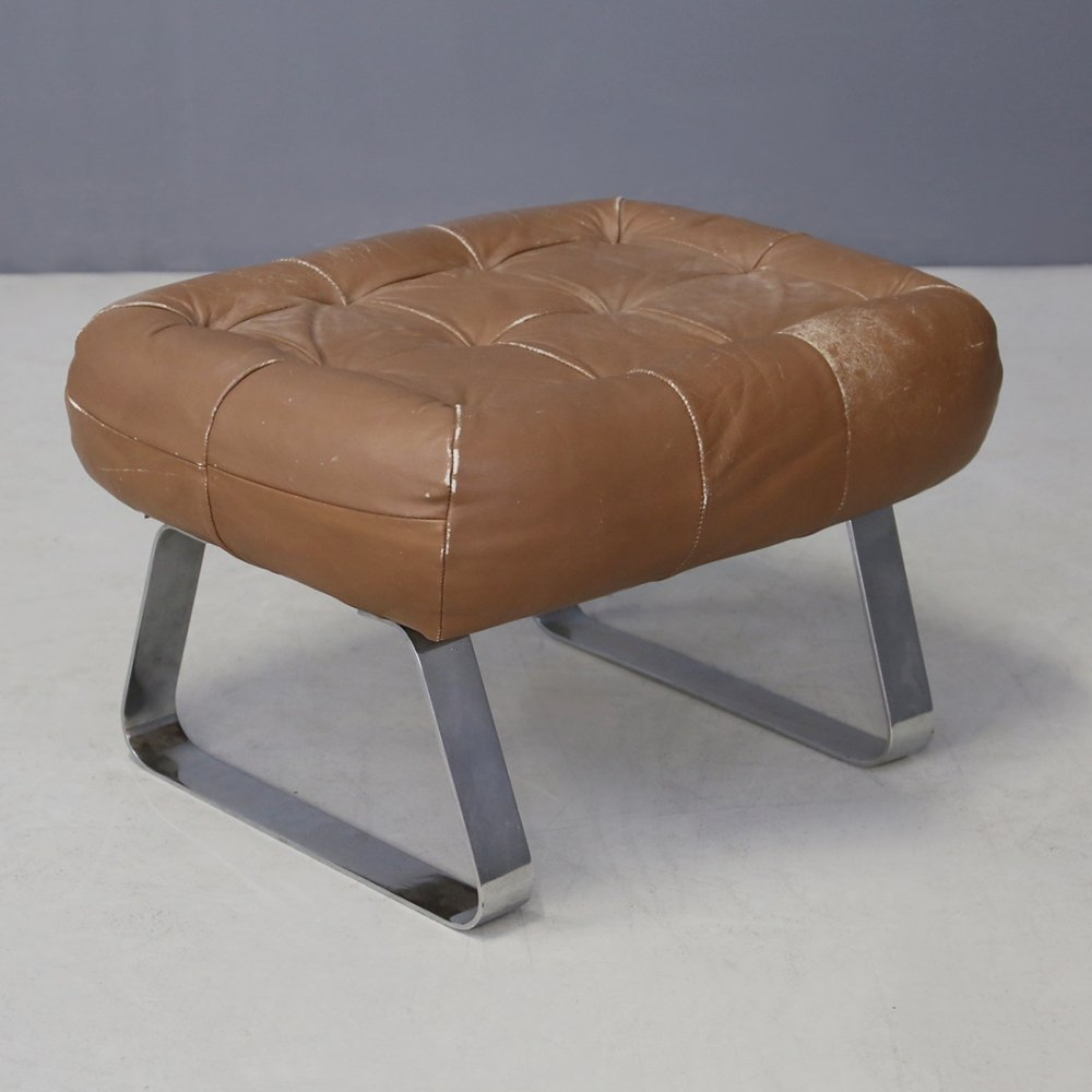 MidCentury Percival Lafer Earth Collection Ottoman with Label, 1970s