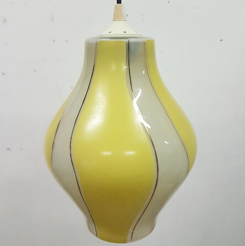 Mid century glass pendant lamp, 1960s